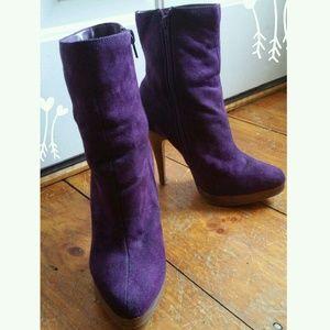 Purple zipper platform booties - 7